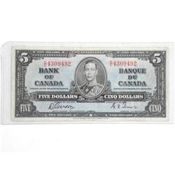 Bank of Canada 1937 Five Dollar. G/T.