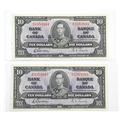 Lot (2) Bank of Canada 1937 - Ten Dollar note. In