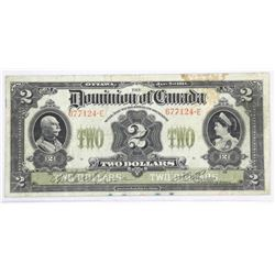 Dominion of Canada 1914 - Two Dollar Note. Large F