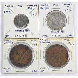 Lot (4) 'KUTCH' India Coins