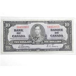 Bank of Canada 1937 Ten Dollar Note. G/T