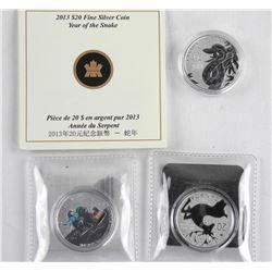 Lot (3) .9999 Fine Silver $20.00 Coins