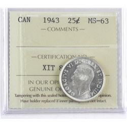 1943 Canada Silver 25 Cent. MS-63 ICCS (CR)