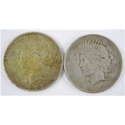 Lot (2) USA Silver Dollars: 1922 and 1924
