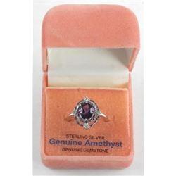 (BB17) 925 Silver Custom Ring, 1.06ct Oval Amethys