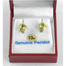 (BB05) Ladies 10kt Gold Fancy Earrings Two Peridot