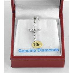 (BB28) 10kt Gold Cross Style Pendant with 10 Diamo