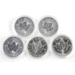 Lot (5) .9999 Fine Silver Maple Leaf $5.00 1989, 1