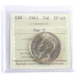 Canada 1943 Silver 50 Cent. EF45. Far 2. ICCS.