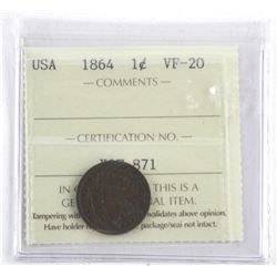 1864 Indian Head One Cent VF-20 ICCS