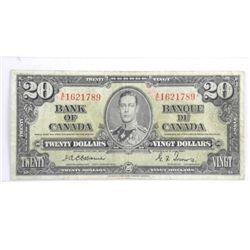 Bank of Canada 1937 Twenty Dollar Note. Osborne-To