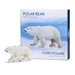 .9999 Fine Pure Silver Polar Bear Sculpture