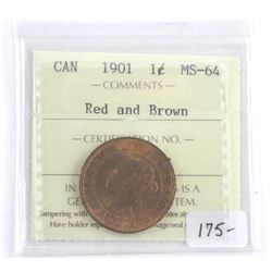 Canada 1901 Large Cent Red and Brown MS64. ICCS. (