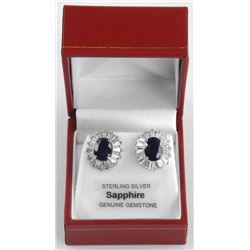 (BB31) 925 Silver Custom Earrings, 2 Oval Blue Sap