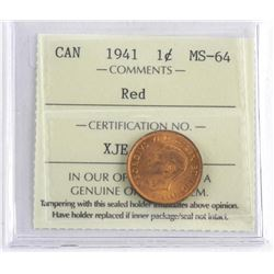 Canada 1941 One Cent Red. MS64. ICCS