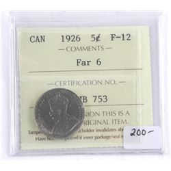 Canada 1926 5 Cents. FAR 6. F-12 ICCS. (MXR)