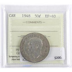 Canada 1948 Silver 50 Cents. EF40. ICCS. (MXR)