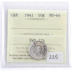 Canada 1941 Silver 10 Cent. MS-64. ICCS. (MME)