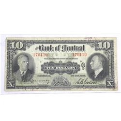 Bank of Montreal Jan 1938 Ten Dollar Note