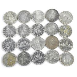 Lot (20) Canada Silver Dollars. Mixed Dates.