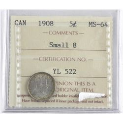 Canada 1908 Silver 5 Cents MS64. ICCS. (OIE)