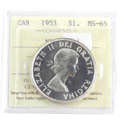 Canada 1953 Silver Dollar MS-65. ICCS. NSG - SWL (