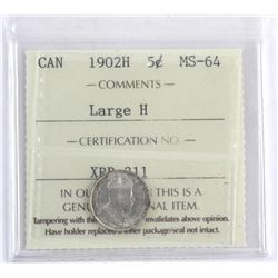 Canada 1902H Silver 5 Cent MS64. ICCS. Large H