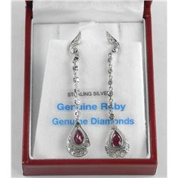 (BB26) 925 Silver Custom Drop Earrings, 2 Bezel Se