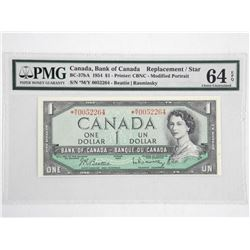 Bank of Canada 1954 One Dollar Note. * Replacement