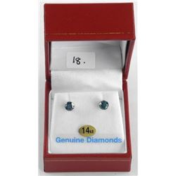 (bb18) Ladies 14kt Gold Diamond Stud Earrings 2 St