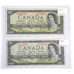 Lot (2) Bank of Canada Twenty Dollar Note. Devil's