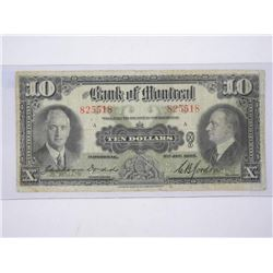 Bank of Montreal Jan 1935 - Ten Dollar Note