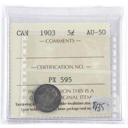 Canada 1903 Silver 5 Cents. AU-50 ICCS. (SOE)