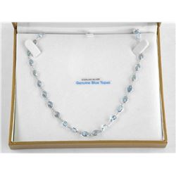 (BB41) 925 Silver Fancy Necklace, 40 Oval Blue Top