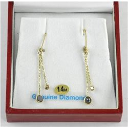 (BB36) Ladies 14kt Gold Drop Diamond Earrings 1.20