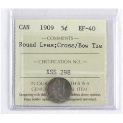 Canada 1909 Silver 5 Cents EF40-ICCS. Round Lves: