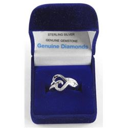 (BB48) 925 Silver Cluster Ring Heart Shape, 37 Dia
