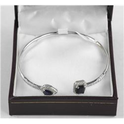 (BB45) 925 Silver Fancy Bangle Bracelet 3.00ct Blu