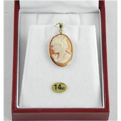 (BB16) Ladies 14kt Gold Shell Cameo, Set Pendant H