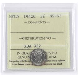 NFLD 1942C - 5 Cents MS-63 ICCS.