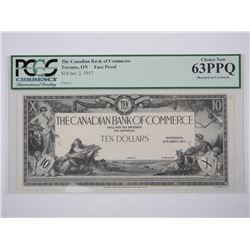 Canadian Bank of Commerce Jan 1917 10.00 FACE PROO