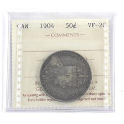 Camada 1904 Silver 50 Cent VF-20 ICCS. (AXR)