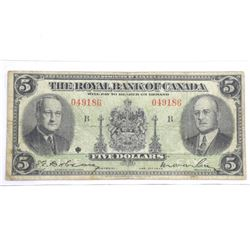 Royal Bank of Canada Jan 1943 Five Dollar Note