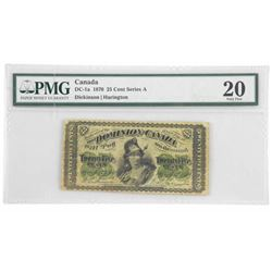 Dominion of Canada 1870 - Twenty Five Cents Note.