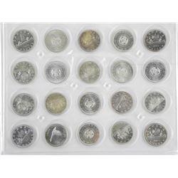 Lot (20) Canada Silver Dollars Mixed.