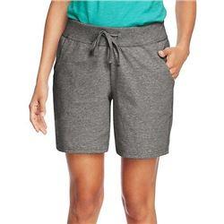 Hanes Women's Jersey Short- Charcoal Heather- Medi