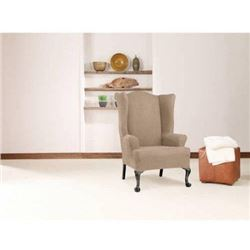 SureFit Stretch Wing Chair Slipcover - Taupe