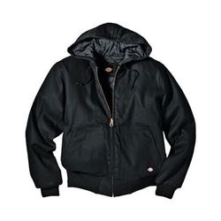 Dickies Men's Rigid Duck Hooded Jacket- Black- X-L