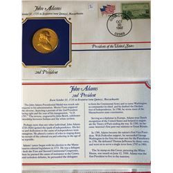 President Medals Cover Collection 1992 JOHN ADAMS with Stamps
