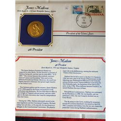 President Medals Cover Collection 1990 JAMES MADISON with Stamps